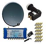 SkyRevolt PremiumX Digital HD Sat Anlage Antenne 100 cm ALU Anthrazit Multischalter SV 5/8 Multiswitch Sat-Verteiler Quattro LNB HDTV + 24x F-Stecker