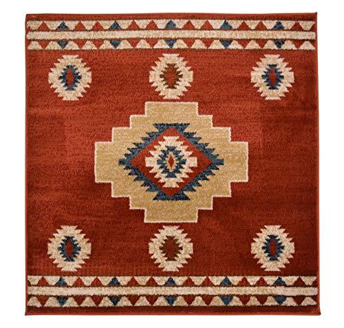 RugStylesOnline Nevita Collection Southwestern Indianer Design Teppich Geometrisch Südwest 3 x 3 Square Orange (Terra) (Orange Teppich, 5 X 7)