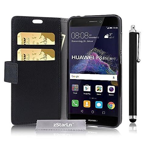 P8 Lite 2017 Hülle, zStarLn® schwarz Hülle PU Leder Tasche für Huawei P8 Lite 2017 ( 5.2 Zoll ) Hülle Schutzhülle Etui + Stylus pen und 3 Films