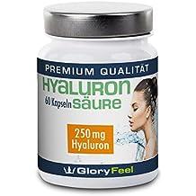 Cápsulas de ácido hialurónico – NUEVA FÓRMULA: 250mg de hialurón por cápsula puro y altamente dosificado - Piel + Anti-Edad +Articulaciones – Complejo 100% Ácido Hialurónico – 60 cápsulas de hialurón vegano