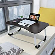 Laptop Desk Bed Tray, Foldable Lap Desk Bed Table for Breakfast Serving, Notebook Table with Tablet Slots for Couch Floor fo
