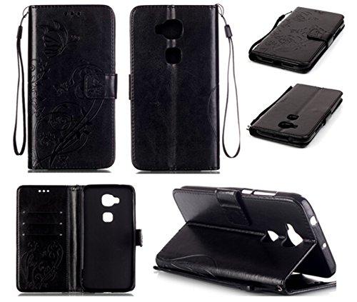 Chreey Coque Huawei G8 (5.5 pouces) (Solid color - papillon - impression),PU Cuir Portefeuille Etui Housse Case Cover ,carte de crédit Fentes pour ,idéal pour protéger votre téléphone