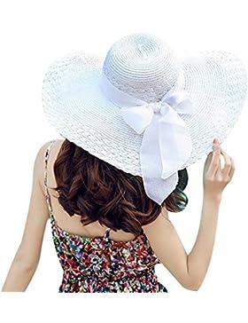 hugestore Floppy Sombrero De Ala Ancha Con Lazo De Chic sol verano playa sombrero gorra gorro para mujer Blanco