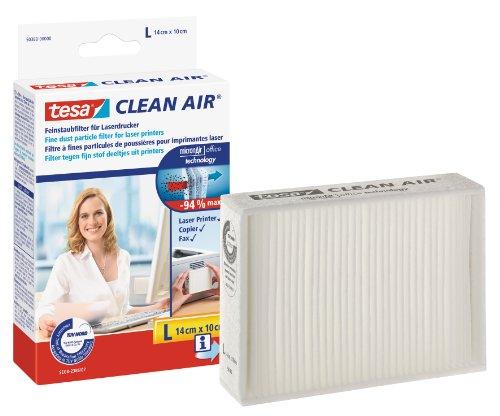 tesa clean air Feinstaubfilter für Laserdrucker, Kopierer und Faxgeräte / Filtert bis zu 94% aller Feinstaubpartikel / Langfristiger, effektiver Schutz / Einfache Anbringung / Größe L -