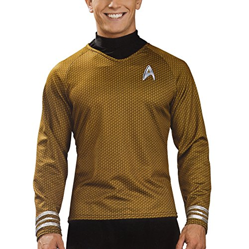 Star Trek - Captain James T. Kirk Movie Deluxe Shirt, Sci-Fi Kostümteil mit Emblem - (Uhura Kostüm Captain)
