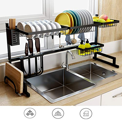 Ljlgc portapiatti in acciaio inox cucina, scaffale incorporato condimento porta piatti in acciaio inox con portautensili ganci per bancone da cucina