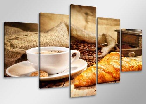 Quadro su tela caffè 100 x 50 cm 5 tele modello nr xxl 6401. i quadri sono montati su telai di vero legno. stampa artistica intelaiata e pronta da appendere