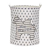 LifenewBaby, contenitori cilindrici in tela di cotone per la casa raffiguranti animali dei cartoni animati, contenitori portaoggetti, giocattoli per bambini, portabiancheria pieghevoli, 40 x 50 cm, raffigurante un cavallo, Tessuto, Stripe Horse, 40*50