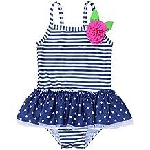 c7ba93065ac5 Tiaobug Baby Badeanzug Mädchen Schwimmanzug Badenmode Einteiler one Piece  Streifen Bikini Tankini Badekleid mit Punkte Rüschen