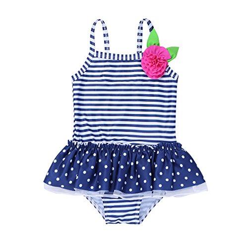(iixpin Baby Mädchen Badebekleidung Badeanzug Gestreift One Piece Tankini Bikini Bademode Gr. 62-98 Marineblau 62-68 (Nr. 65))