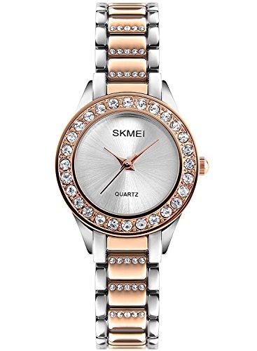 Armbanduhren für Damen Mädchen Roségold Strass Lünette Crystal Armband Silber