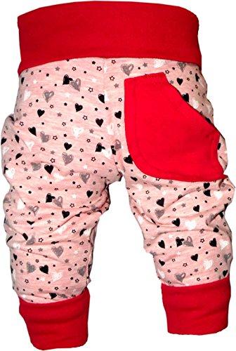KLEINER FRATZ Baby Pumphose (Farbe Herz-rot) (Größe 74-86)