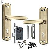 Atom Mortice Door Handle Set Brass Antique Finish With Double Stage Lock 3 Keys