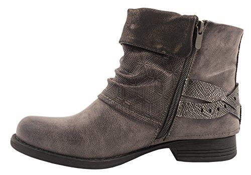 Elara Damen Biker Boots | Metallic Prints Schnallen | Nieten Stiefeletten Lederoptik | Gefüttert Grau Sydney