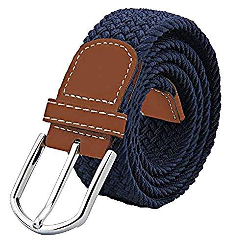 JTDEAL Cinturon elastico hombre, Cinturon Trenzado, Unisex Hombres Mujeres Casual Tejido, Hebilla Metal y Caja De Regalo Negra Elegante Como Regalo, Uso Diario Etc - Azul
