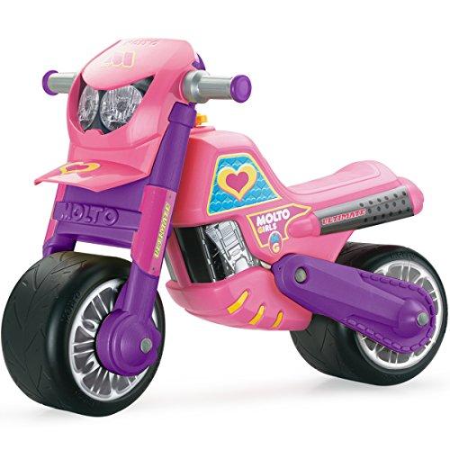 Rutsch Motorrad mit breiten Reifen, dient als Lauflernhilfe für die Kleinen, 69 cm, geeignet für Innen und Außen, Robust, Lauflernrad fürs Gleichgewicht, Rosa für Mädchen, Kinder Bike ab 18 Monaten