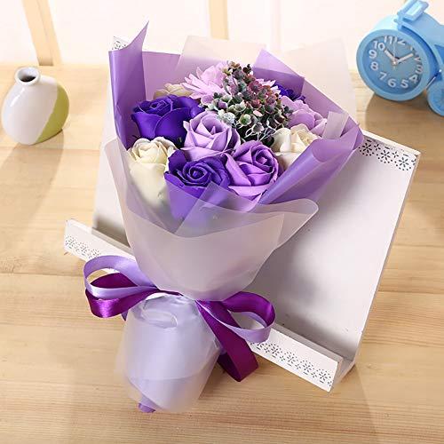 Tolyneil sapone bouquet di fiori, home supply decorazione floreale handmade sapone artificiale fiore rose bouquet festa della mamma regali creativi regalo di san valentino (viola)