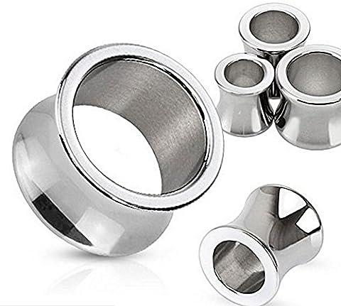 1 x 8GA (3 mm) poliert Spiegelglanz Sattel Fit Chirurgenstahl Hohl Ear Tunnel Sattel Stecker Piercing edelsten Materialien