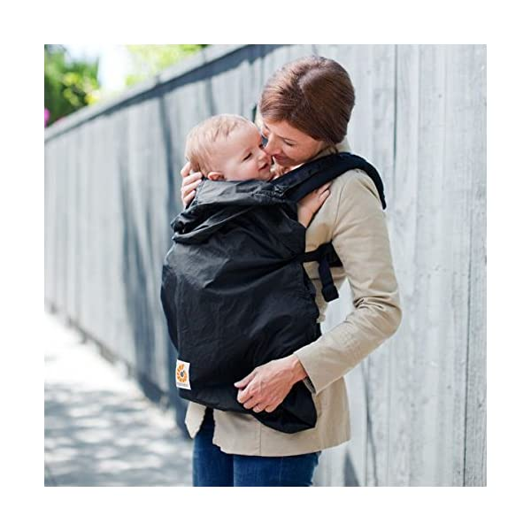 Ergobaby Rain Cover (Black) Ergobaby 100% Polyester water resistant ripstop fabric Snaps attach Rain Cover to the carrier at shoulder straps Elasticized hood 2