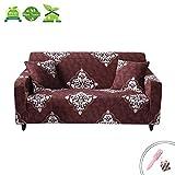 Funda para Sofá Estiramiento Universal, Morbuy Clasico Jacquard Estampada Antideslizante Elastic Cubierta de Sofá Retro Couch Cover Furniture Protector (3 plazas(195-230cm),Vintage marrón)