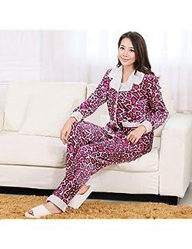 GZZ Inicio Hotel Albornoz Robe Lamb Terciopelo Leopardo Pareja Pijamas Respirables Traje Ropa Interior Confort...