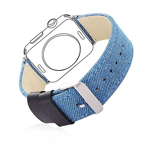 Bandmax Armband für Apple Watch, Nylon Denimstoff mit Echtem Leder Ersatzband Uhrenarmband mit Gürtelschnalle für 42MM Apple Watch Series 2/ Series 1(Blau) (Apple Jeans)