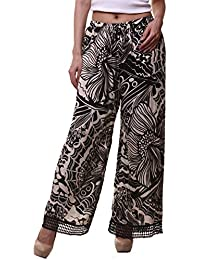 Hive91 Plazzo For Women Abstract Black & Beige Printed Rayon Fabric (XX-Large)