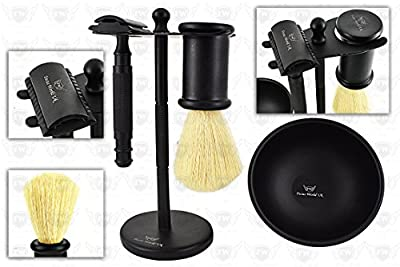 Best Premium Men's Grooming Kit By Focus World – Complete Luxury Wet Shave Gift Set - Safety Razor, Badger Hair Brush, Shaving Bowl, Stand