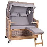 Strandkorb Kampen Spezial 2,5-Sitzer White Oak Grau Komplett inkl Gasdruckfedern Zeitungstaschen Handytaschen Rollen Bullaugen