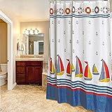 LILI der Duschvorhang in Wasserdichter Polyester Verdickte Schimmel Kleinen Segelboot Kosten Bad Vorhang der Partition (Größe: 180 * 200 cm)