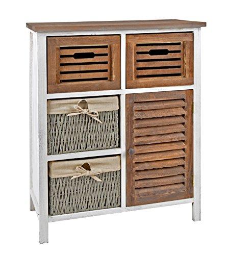 commode armoire étagère pépinière campagnard couloir salle de bain étagère dans Shabby Blanc Marron avec tiroirs et paniers