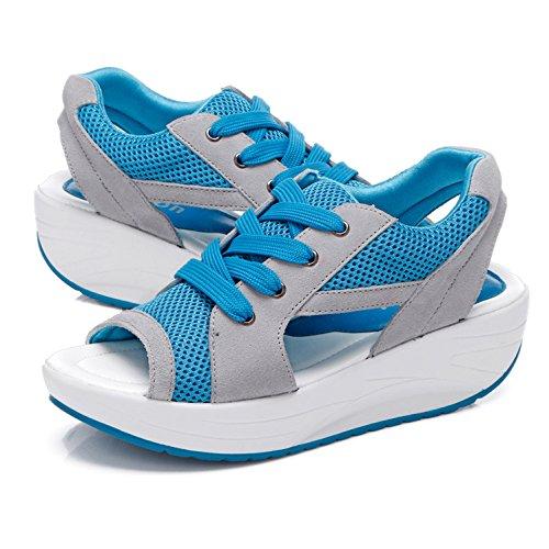TOOGOO(R) Sandali della testa di pesce di estate i pattini delle donne con la focaccina della piattaforma Blu US4.5=EUR35=22.5CM Blu