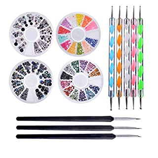 Biutee Pro Nail Art Set Kit 4 Wheels Multicolor Nail Rhinestones Decoration Wooden Nail art Brushes Double Ended Dotting Marbling Tools by Biutee …