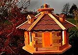 Vogelhaus Futterhaus Vogelvilla mit Solarbeleuchtung und Silo klein und Groß verschiedene Farben V16 (Rot, klein), Vogelfutterhaus