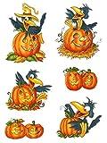dpr. Fensterbild Set 6-Teilig Herbst Kürbis Rabe Halloween Fenstersticker Fenster-Dekoration Herbst-Dekoration