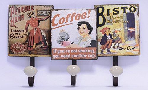 Garderobe Haken Wandhaken Kleiderhaken 2er Set Vintage Nostalgie Retro Blech Motiv: Coffee Bisto 21 x 34,5 cm