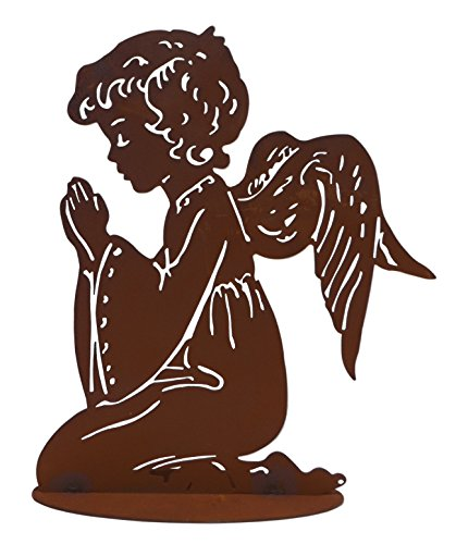 Klp Engel Metall Edelrost betender Schutzengel Skulptur Weihnachts Deko Figur Statue (Engel-garten Betender Statue)