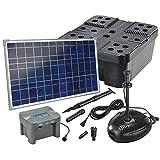 Solar Teichfilterset Profi 1300 l/h Förderleistung mit Akku und LED Beleuchtung 35 W Solarmodul Komplettset bis 4000l Gartenteich 101074