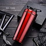 Hunt Power Qualität Protein Shaker Flasche Edelstahl Sport Wasserflasche Shaker Cup mit Rührkugel Vitamin Supplements Mixer BPA frei,rot,720ml