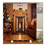 Beydodo 3D Duschvorhang Antischimmel 180X180 Weihnachtsbaum Kamin Vintage Duschvorhang
