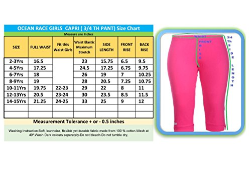 OCEAN RACE Girls Cotton Capris Pack of 2 (Hot Pink-Black-OCR-C-15151-8-9YRS)