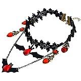 Qinlee Damen Kette Schlüsselbein Halskette Fledermaus Stil Spitze Schwarze Spitzen Halskette Charmant schmuck für Damen Schwarz Kette