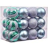 Valery Madelyn 24 Stücke 6CM Kunststoff Weihnachtskugeln Der Nordstern Thema Eisblau Grün Silber Christbaumkugeln Weihnachtsbaumschmuck Set mit Aufhänger Weihnachtsbaumschmuck Weihnachtsdekoration