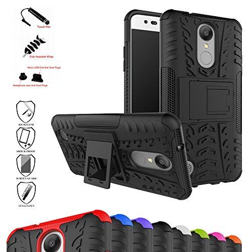 LG Mobile K8 (2017) Kick-Ständer Hülle,Mama Mouth [Heavy Duty] Rugged Armor stoßfest Handy Schutzhülle Silikon Tasche Ständer Hülle Case mit Standfunktion für LG K8 2017 (LGM200N) 5 Zoll SmartPhone,Schwarz