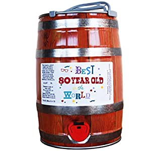 80th birthday beer keg gift - Best 80 year old in the world design on a lovely Scottish IPA craft ale.