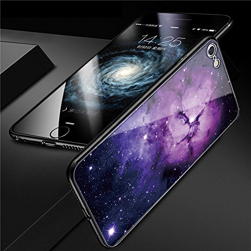 iphone 6 Tempered Glass Case,SUNWAY [Starry Sky][Scratch Resistant] 3 In 1 Ultra-Thin PC Hard Cover 360 Degree Protection Slim Case For Apple iphone 6 - Purple
