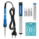 LeaningTech Lötkolben Werkzeug Set Schweißgeräte + Lötstation + 5 Tipps, Blau