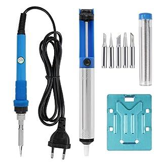 Leaning Tech – Juego de herramientas con soldador, equipo de soldadura, estación de soldadura y 5 puntas, color azul