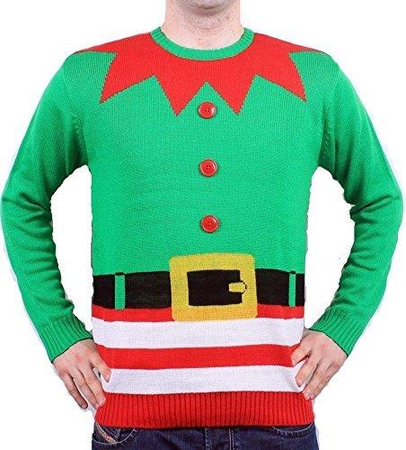 Jersey Navidad Novedad Elfo Verde Hombres y Mujeres Unisex