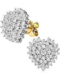 Naava Damen-Ohrstecker 18k herzförmige Cluster Ohrringe 750 Gelbgold teilrhodiniert Diamant (1.00 ct) weiß Rundschliff - PE03472 18KY